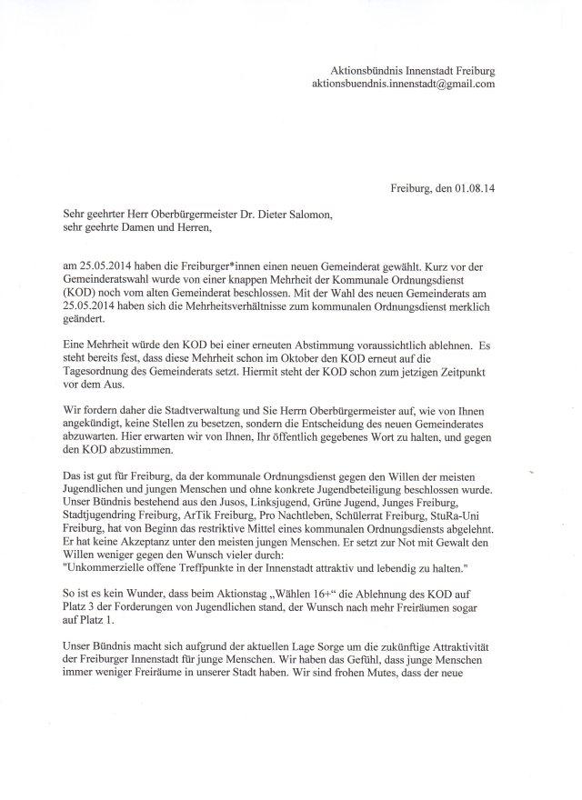 Aktionsbündnis Innenstadt fordert Abwahl des KOD 01082014_Seite1